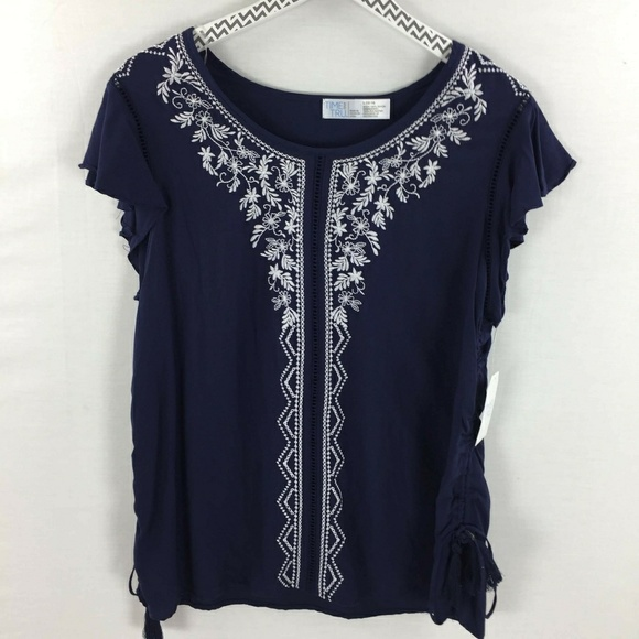 7c41e237ed097b Time and Tru Tops | Embroidered Rayon Blouse Nwt | Poshmark